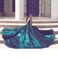 Lujo Verde Oscuro Vestidos de Baile Con El Tren Largo Con Cuentas Cristales Sin Respaldo Vestidos de Noche Robe Abendkleider Vestido de Fiesta de Bodas