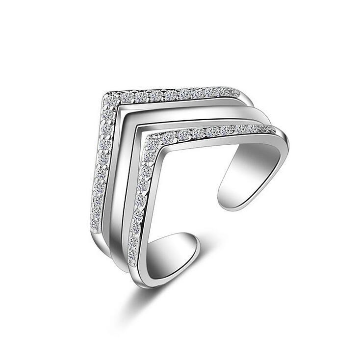 2017 nový příchod vysoce kvalitní lesklý křišťál 925 šterlinků stříbrné dámské prsteny k narozeninám pokles zásilky velkoobchod dárek