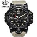 Relógio marca de moda homens novo estilo smael luxo analógico de quartzo dos homens esportes militar relógios choque à prova d' água relógio de dupla afixação