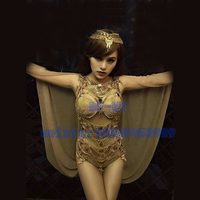 Bar and nightclub singer dancer sexy glittering rhinestones conjoined four color suit for holiday party stage performance clothi