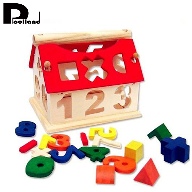 Baby Kids Wooden House Building blocks Toys Number Educational Learning Intellectual Block Toy Math Gifts Brain Game Toy P5 cute falling tumbling monkeys blocks toy board game kids balancing training toys parenting family game blocks toy