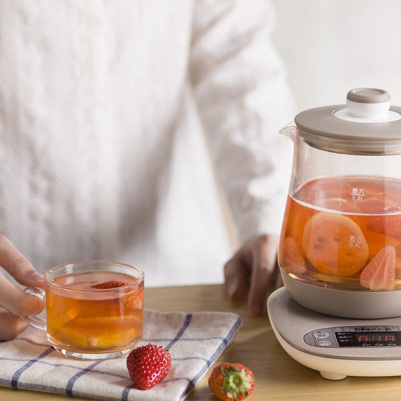 Pot de santé en verre haute borosilicate fleur bouillie théière électrique bouilloire 0.8 litres anti-sec