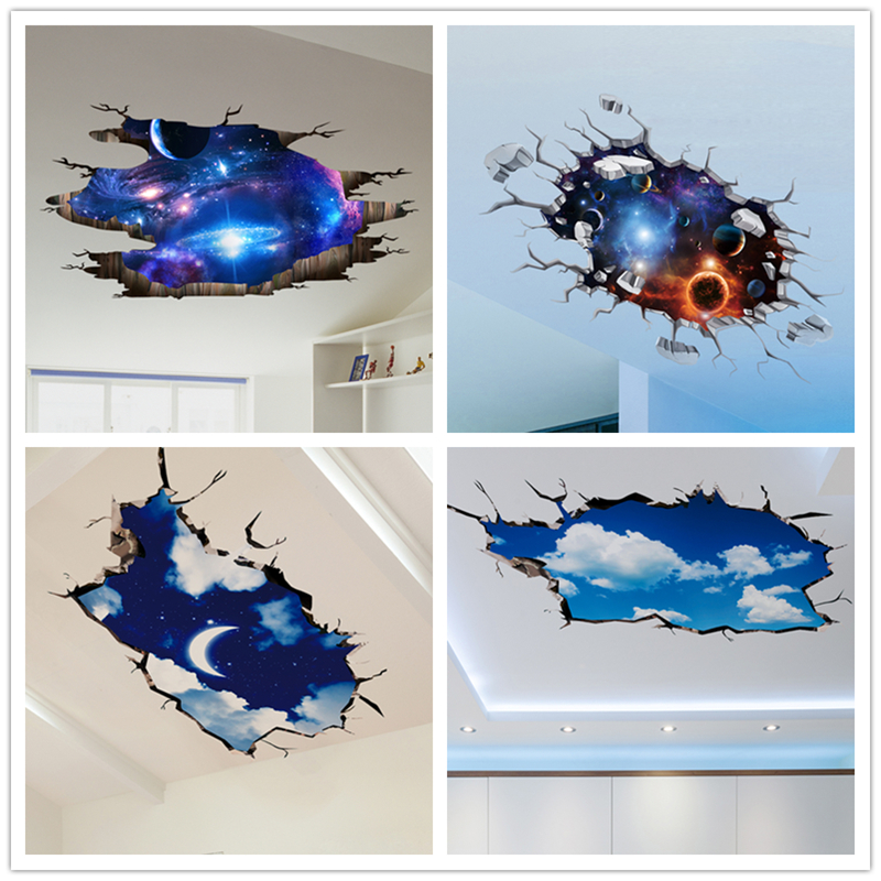 Shijuehezi 3d wall stickers cosmic galaxy planet wall for Wall decor outer space