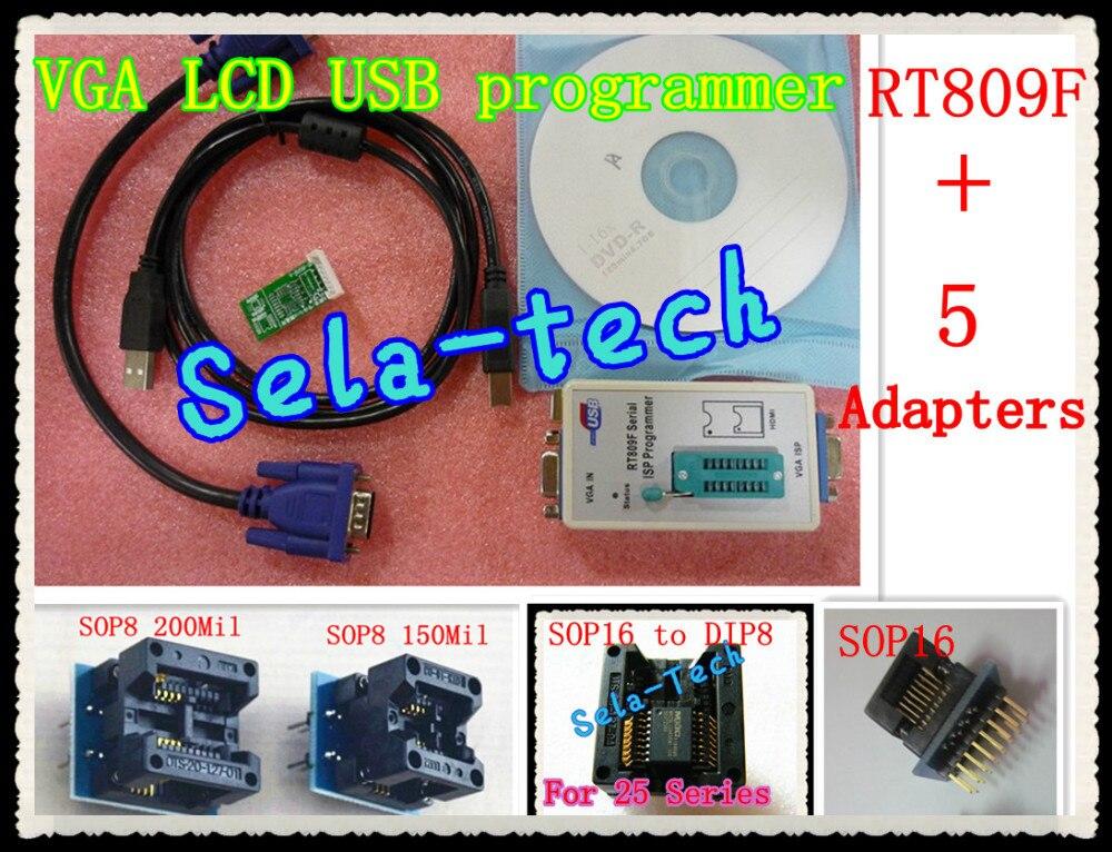 LCD USB Programmer RT809F Serial ISP Programmer PC Repair Tools 24 25 93 serise IC RTD2120 Better then EP1130B+5 Adapter TL866cs