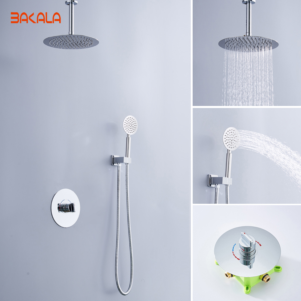 Temperate Concealed Thermostatic Shower Panel Wall Mounted Shower Mixer 4 Ways 304 Stainless Steel Shower Controller Valve In Wall Shower Bathroom Fixtures
