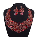 Statement necklace Earrings set Bridal Red color Wedding Jewelry Sets Rhinestone Crystal Women Party Earrings set