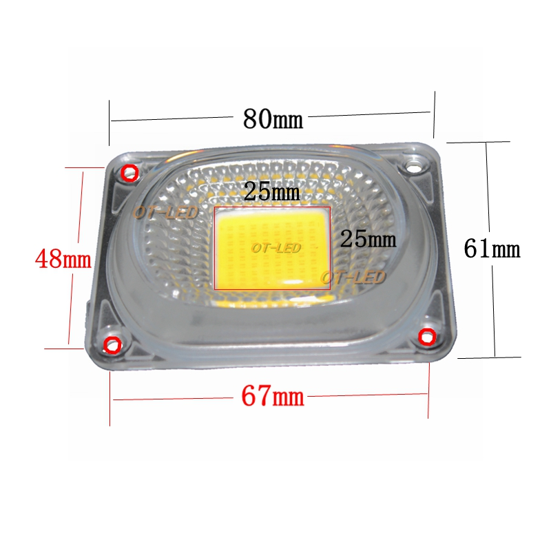 2Sets LED Lens Reflector For LED COB Lamps Include: PC Lens+Reflector+Silicone Ring Lamp Cover Shades FloodLight DIY