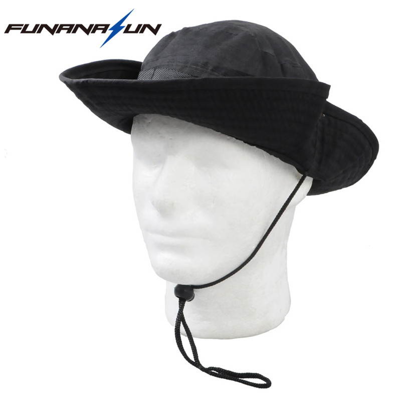288f405e222 Military Men Hunting Camouflage Hat Outdoor Hiking Wide Bucket Hats Unisex  Brim Sun Cap Summer Jungle with String Boonie Hat-in Hiking Caps from  Sports ...