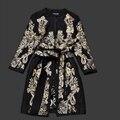 Бесплатная Доставка Уличной Моды качество шерсти женщин вышивка цветок длинное пальто с поясом Толстый длинный рукав пальто