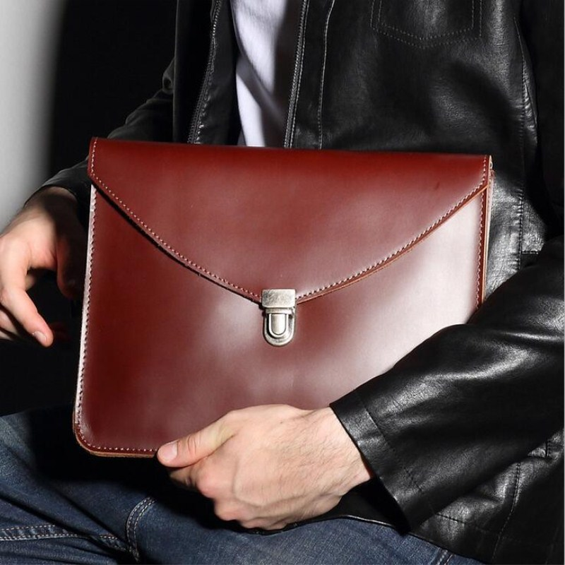 man woman leather multifunction office documents bags A4 paper file pouch envelope bag meeting conference travel