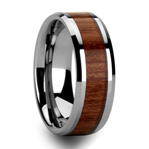 Mens Tungsten Ring W Rosewood Inlay Wedding Band