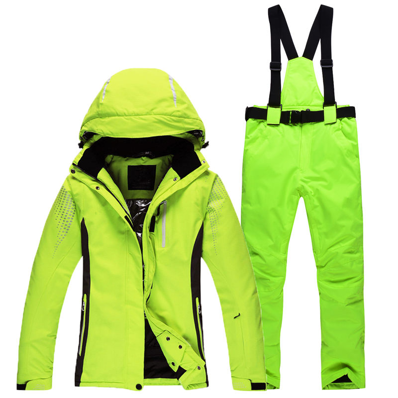 цена на Ski Suit Waterproof Windproof Ski Jacket and Pants Insulated Warm Clothes Moto Pants For Women Snowboard Unicolor Color Ski