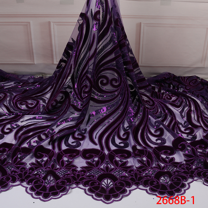 Purple Color Velvet Lace African Tulle French Net Lace Fabrics Nigerian Wedding Mesh Velvet Lace With