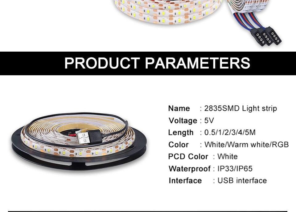 2835 SMD RGB USB charger LED Strip light DC 5V USB Cable LED Light lamp Flexible Tape 1M 2M 3M 4M 5M RF IR RGB Remote control (2)