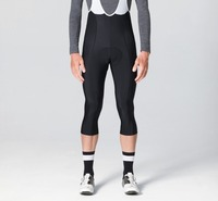 3/4 Black Thermal fleece Winter Bib pants With High density Pad High quality fabric flatlock cycling bib pants [Can Custom LOGO