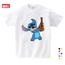 2019 Boys and Girls Cartoon Stitch and Lilo Print T Shirt Kids Funny Clothes Baby Summer White T-shirt 3-12 Years T-shirt Boys