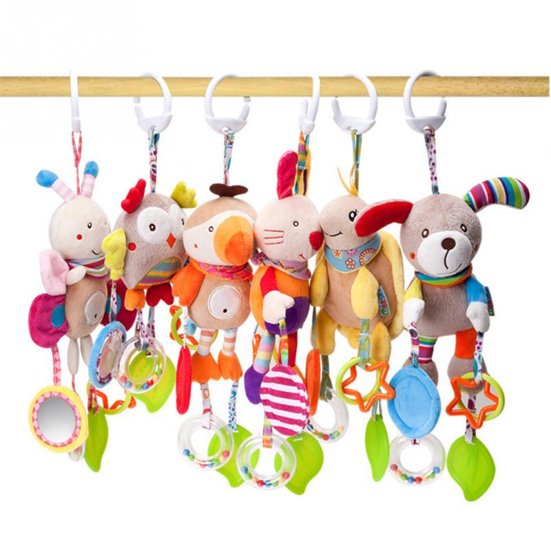 2020 Cartoon Bird Baby Bed Stroller Hanging Rattles Newborn Puppet Rabbit Teether Appease Plush Toy  BB Bell Paper Rubber Rings