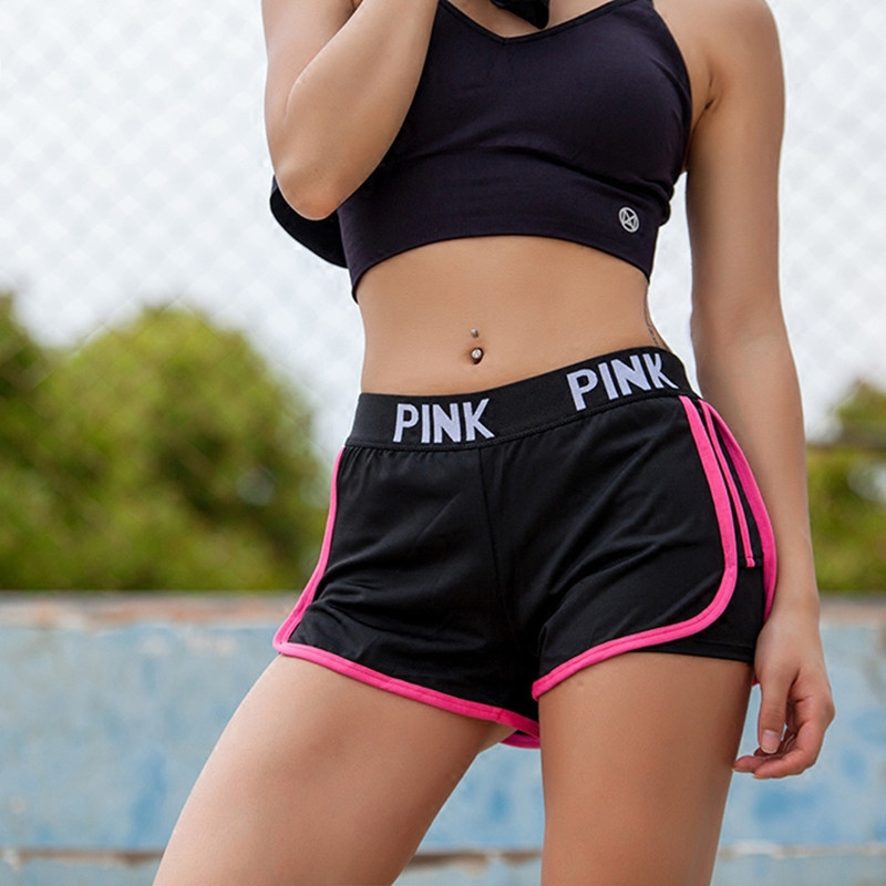 2018 Letter PINK Sport Shorts For Women Yoga Shorts Push Hips Sexy Middle Waist Gym Shorts Women Elastic Workout Running Shorts stylish mid waist candy color slimming shorts for women