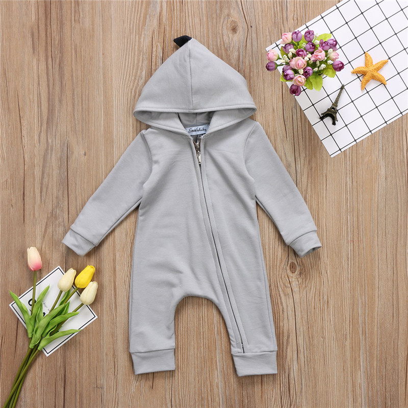 f75a69daf4fb Emmababy Baby Boy Girl 3D Dinosaur Costume Solid pink gray Rompers warm  spring autumn cotton romper Playsuit Clothes-in Rompers from Mother   Kids  on ...