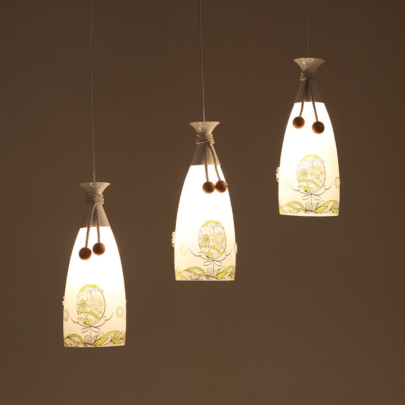 3 heads lights restaurant pendant lights cute bottle personality study bar coffee shop creative art club glass pendant lamps ZA contemporary and contracted creative personality retro art glass chandelier cafe restaurant study lamps act the role of milan