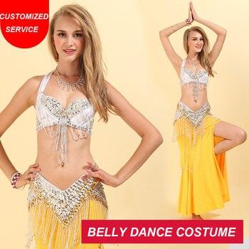 2018 New Women Oriental Belly Dance Clothing Bra B/C Cup Long Skirt Egypt Belly Dance Costume Set Beaded Bra Belt Skirt