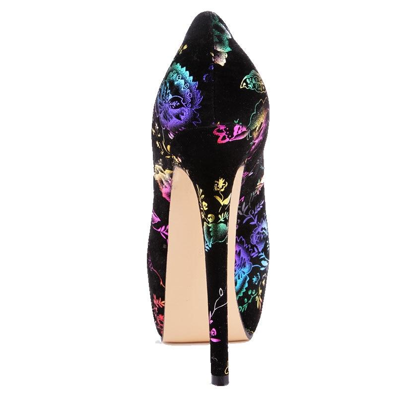 Sexy Talla Doratasia Cm Graduación Calidad Altos Alta Mujer Zapatos 15 34 Negro Flores De Tacones Grande Impresión 43 Fiesta Super qxZfpBq