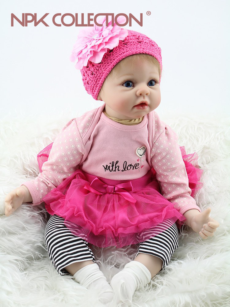 NPKCOLLECTION Silicone Reborn Baby Dolls Fashion Baby 55cm Realistic Lovely Adorable Bebe Girl Wearing Dress Kids Toys For Girl