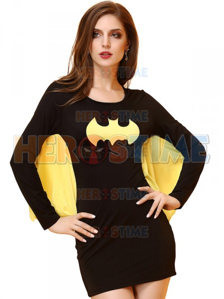 Yellow And Black Lady Cosplay Batgirl Short Mini Dress Women Halloween Costume