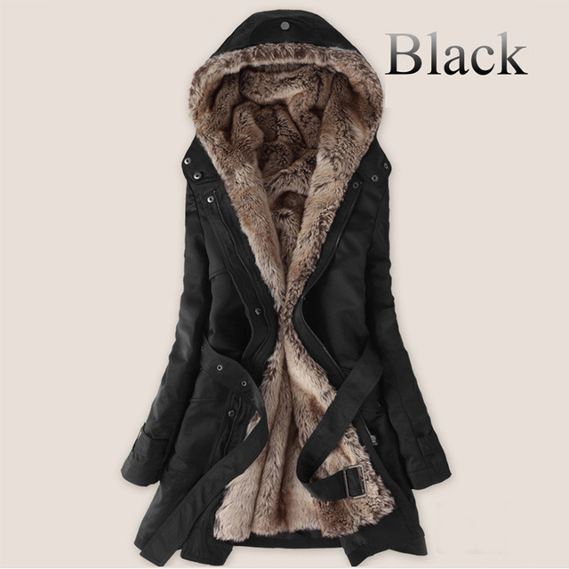 9b80ae6f4f Winter warm Thick Faux fur lining fur Hoodies parkas jacket women,long fur  inside cotton women outwear jacket coat plus size