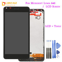 Original For Microsoft Nokia Lumia 640 LCD Display With Touch Screen Digitizer Assembly With Frame Free