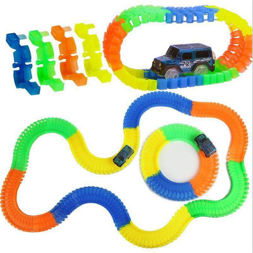 Funny Glowing Race Track Bend Luminous Toy Car Set 56/165/220/240/360pcs Assembly LED Flash Glow Racing Kids Toys