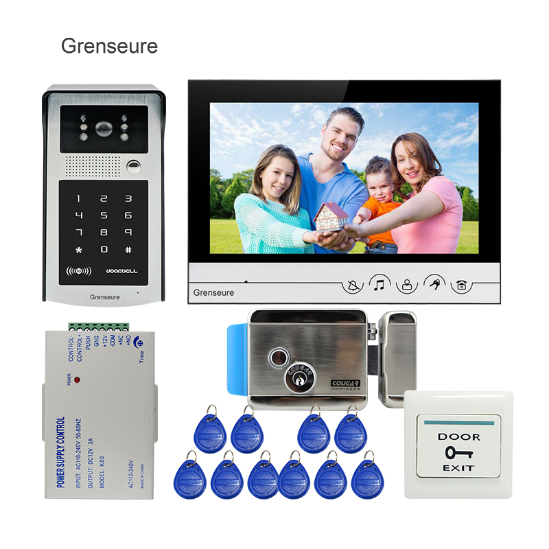 Free Shipping 9 LCD Screen Monitor Video Door Phone Intercom Kit + Outdoor RFID Code Keypad Unlock Camera Electric Control Lock free shipping 7 lcd video door phone intercom system 2 screens rfid access code keypad password camera electric control lock