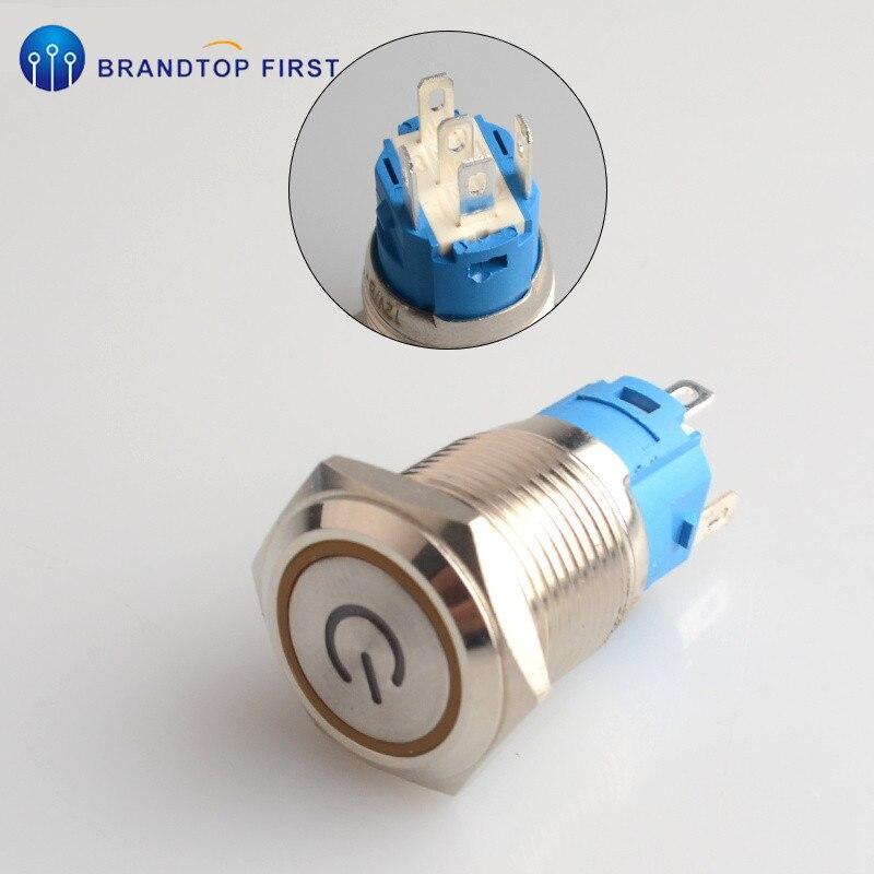 1 шт. 16 мм Мгновенный металлический кольцевой кнопочный переключатель светодиодный самоблокирующийся/самоблокирующийся водонепроницаемый двигатель Автомобильная кольцевая кнопка двери - Цвет: Оранжевый
