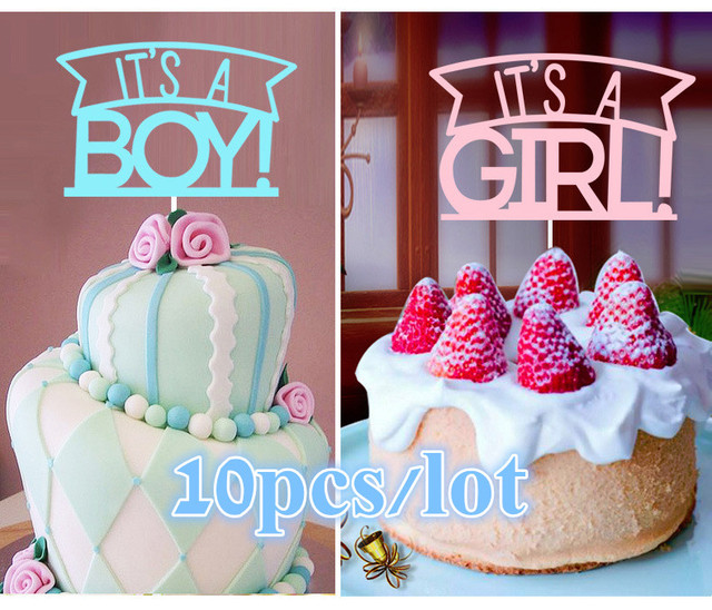 Cake Toppers Kids Happy Birthday Cupcake Cakes Flags Its A Girl
