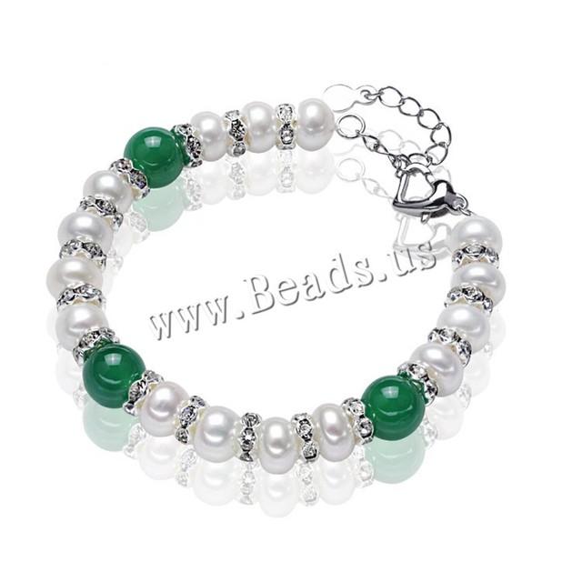 Lady Gaga 2015 perlas de agua dulce naturales pulsera de ágata verde genuino cultivado pulsera para la mujer