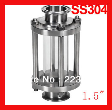 1.5 Sanitary flow tube Sight glass SS304 Stainless steel View glass for pipeline Tri-clamp end free shipping 304 stainless steel sanitary fitting 2 51mm od64 sanitary tri clamp sight glass stainless steel 304