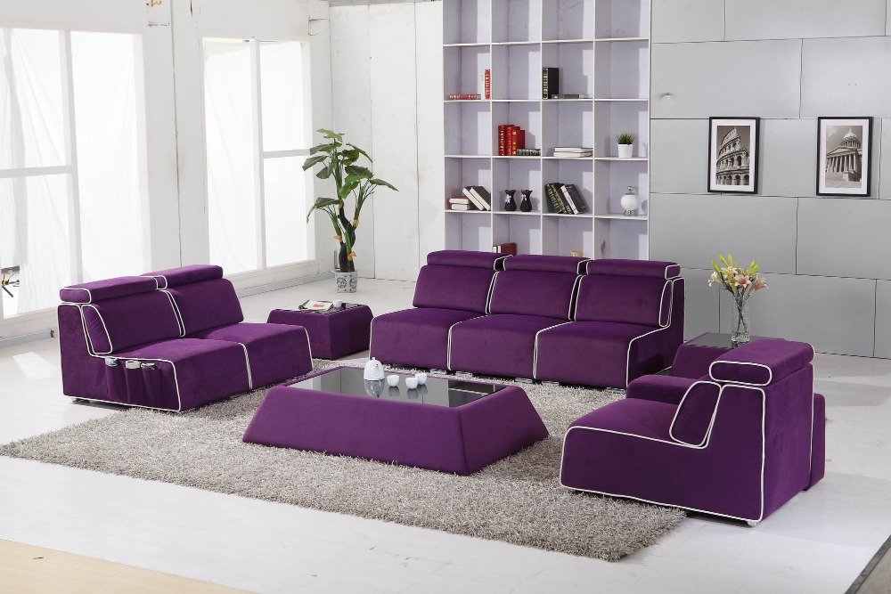 Purple Color Fabric Sofa 0411 AF080 in Living Room Sofas