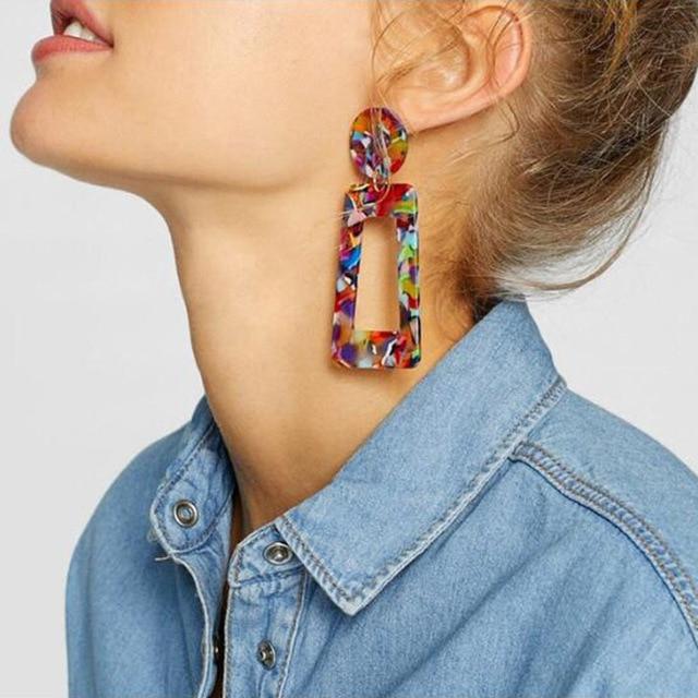 Xiyanike boho 기하학 문 귀걸이 패션 쥬얼리 다채로운 표범 인쇄 아크릴 드롭 귀걸이 여성 e2030