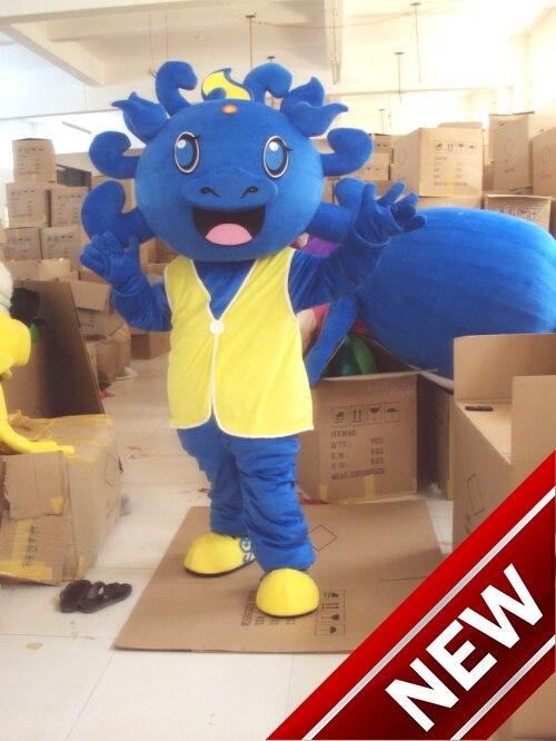 Le Costume de mascotte de Dragon de dinosaure bleu pour les adultes tenue de noël Halloween Costume de déguisement livraison directe gratuite