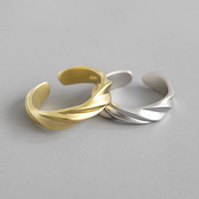 Real 925 sterling silver twisted matte rings for women wedding party, vintage engagement ring woman gold color fine jewelry viennois silver color rings for woman star rings coffee gold color ring jewelry wedding party female finger rings