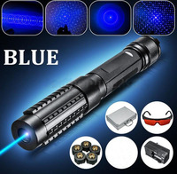 445nm 80000mw Burning Focusable Blue Laser Pointer 5 Star Caps With Safety Glasses Charger Metal Cased