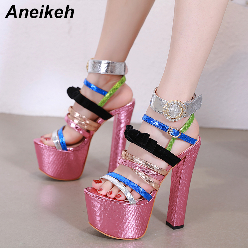 Aneikeh 2019 Sweet Mixed Colors Gladiator PU Sandals Woman Round Toe Solid High Heels Shoe Buckle Shallow Party Size Dance 34-40Aneikeh 2019 Sweet Mixed Colors Gladiator PU Sandals Woman Round Toe Solid High Heels Shoe Buckle Shallow Party Size Dance 34-40