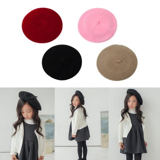 Kids Fashion Girls Hats Wool Beret Brimless Warm Winter Solid Cap French  Beanie b4091af41f42