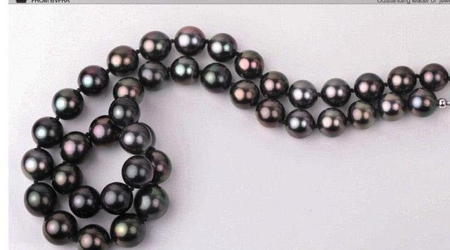 gorgeous huge 10-12mm south sea round black green red pearl necklace 18inch 925s