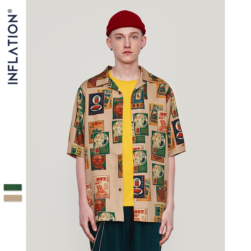 INFLATION Summer Men's Shirt Casual Retro Cigarette Digital Print Shirt Summer New Loose Street Hip Hop Couple Shirt 9216S