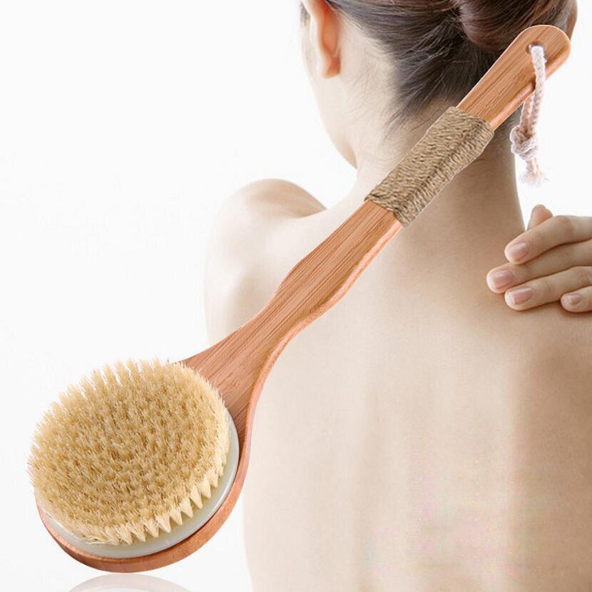 Trockenen Drush Natürliche Schweine Mähne Skid Behandlung Holz Körper Massage Gesundheit Bad Pinsel Körper Waschen Peeling Sauber Peeling Körper Pinsel