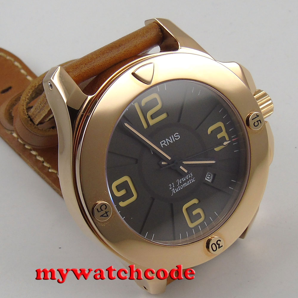 47mm parnis 블랙 다이얼 로즈 골드 케이스 사파이어 자동식 남성 시계 p619-에서기계식 시계부터 시계 의  그룹 1