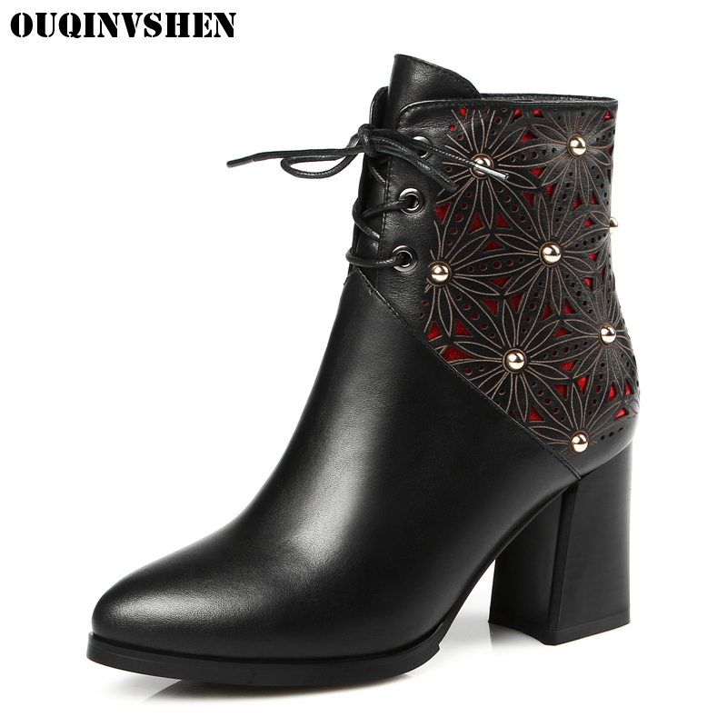 OUQINVSHEN Zipper Pointed Toe Boots Casual Fashion Women Ankle Boots Square heel Rivet Flower High Heels Ladies Girl Boots Brand nemaone 2018 women ankle boots square high heel pointed toe zipper fashion all match spring and autumn ladies boots