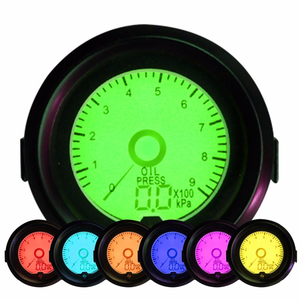 Universal 52mm Oil Pressure Gauge Press Meter LED Digital 7 Colors Backlit 0-900Kpa Free Shipping 2014 new 1pcs auto car oil pressure led gauge 2 52mm free shipping a