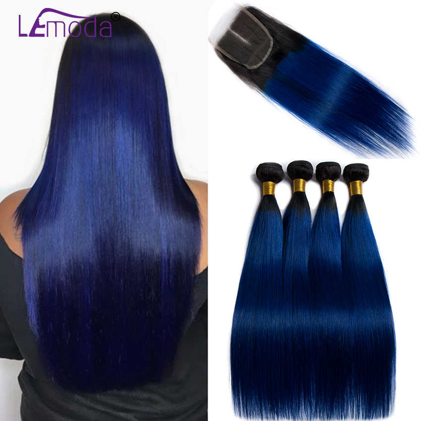 Ombre Bundles With Closure 1B/Blue Two Tone Human Hair 3 Pcs Brazilian Straight Hair Bundles with Closure Lemoda Remy Hair